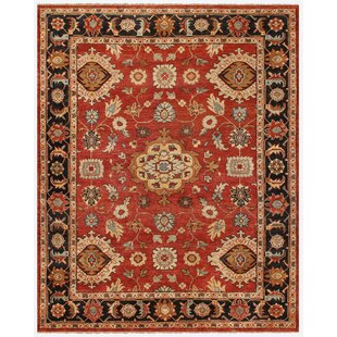Check Prices Barter Hand-Knotted Wool Red/Black Area Rug By Astoria Grand