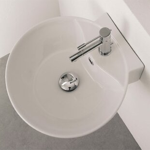 Best Sfera Ceramic 16 Wall Mount Bathroom Sink with Overflow ByScarabeo by Nameeks