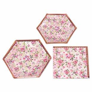 98 Piece Floral Paper Disposable Tea Party Set