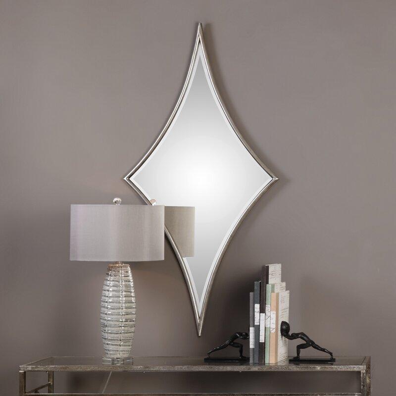 House Of Hampton Diamond Silver Glam Beveled Wall Mirror Wayfair