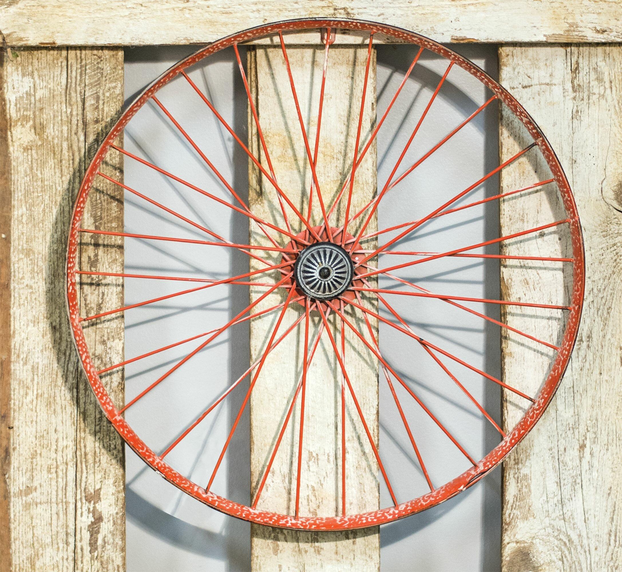 Williston Forge Metal Wagon Wheel Wall Decor Reviews Wayfair