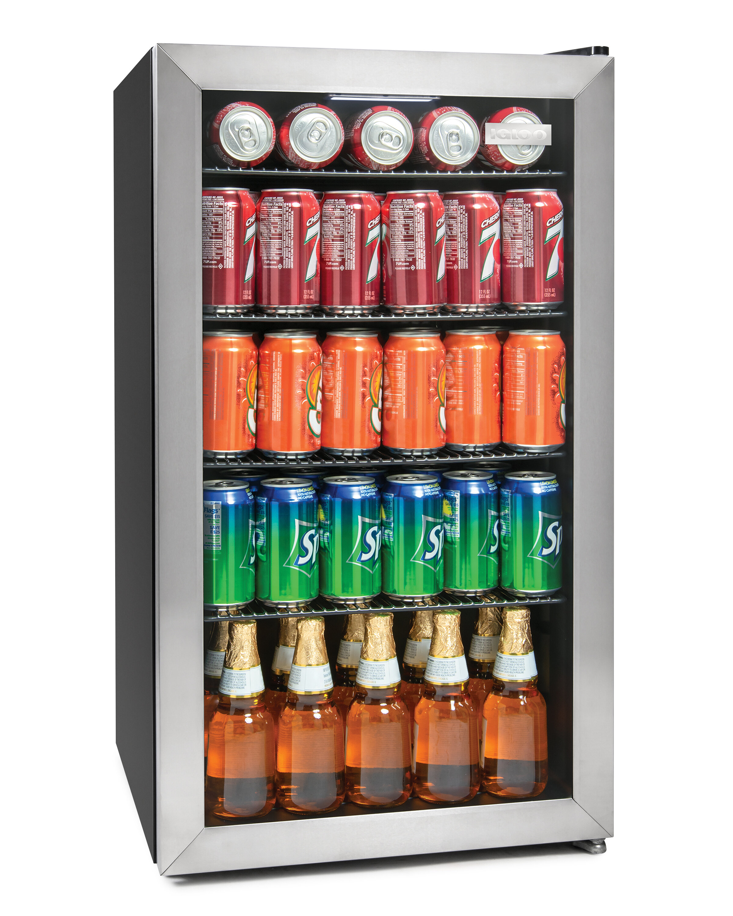 Igloo 3 5 Cu Ft 135 Can Capacity Stainless Steel Led Lighted Double Pane Glass Door Beverage Center Refrigerator And Cooler Reviews Wayfair