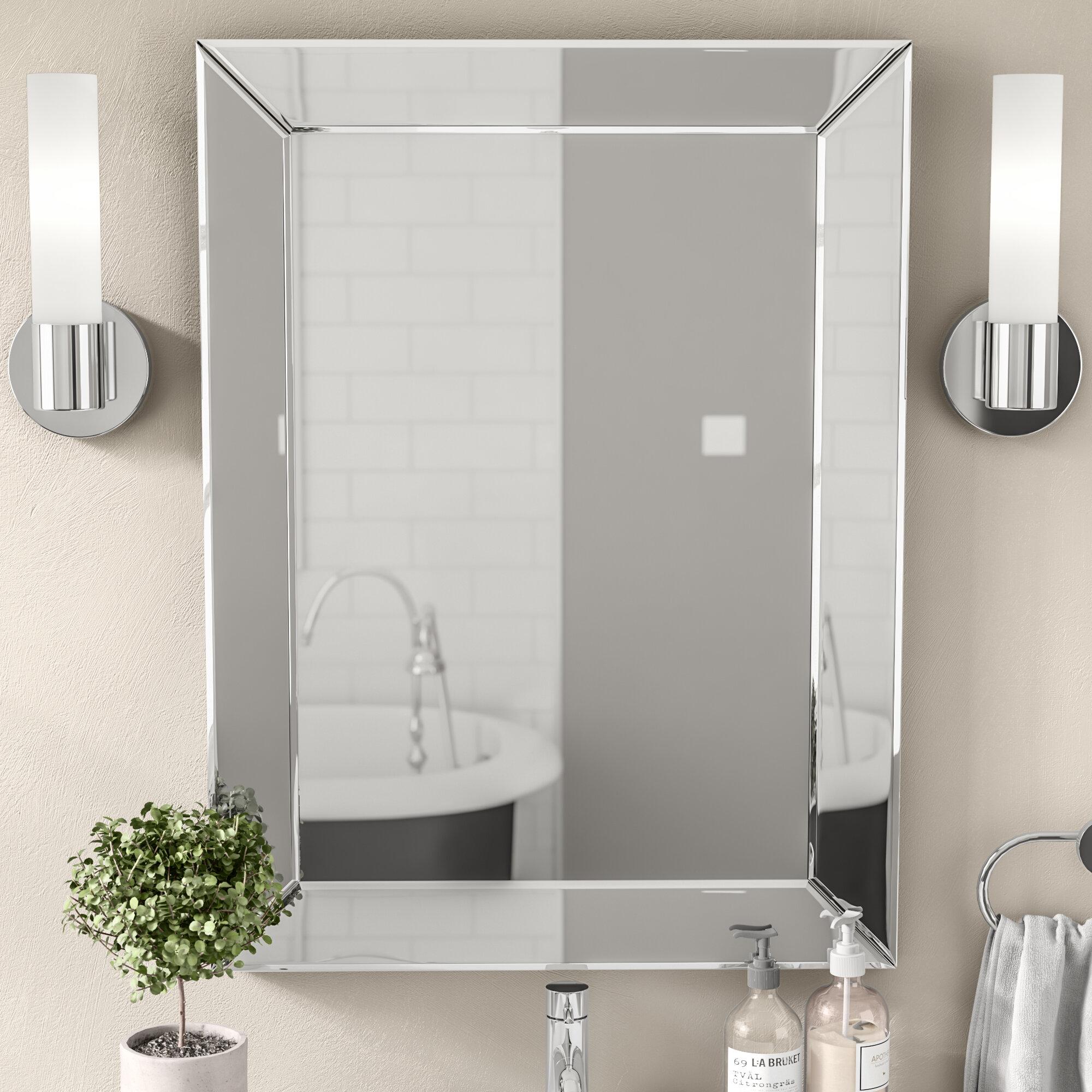 Wade Logan Rectangle Silver Vanity Wall Mirror & Reviews | Wayfair