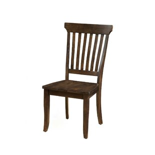 Millwood Pines Wilker Slatted High Back Solid Wood Dining Chair (Set of 2)