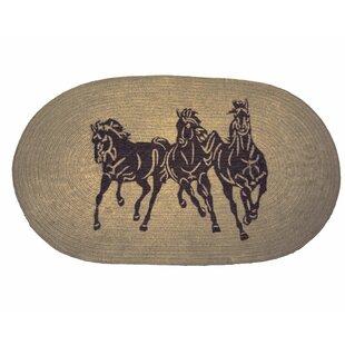 Spahn 3 Horse Jute Light Chocolate Area Rug