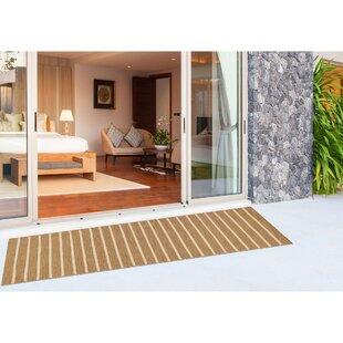 Ranier Pinstrip Handwoven Flatweave Beige Indoor/Outdoor Area Rug