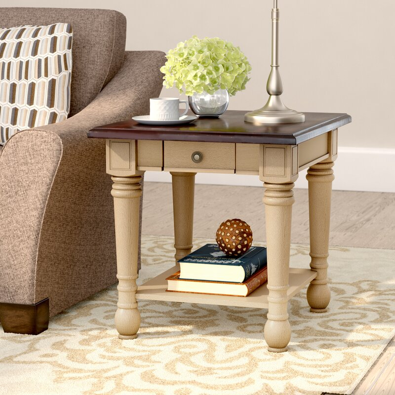 Classic Two Tone End Table With Storage