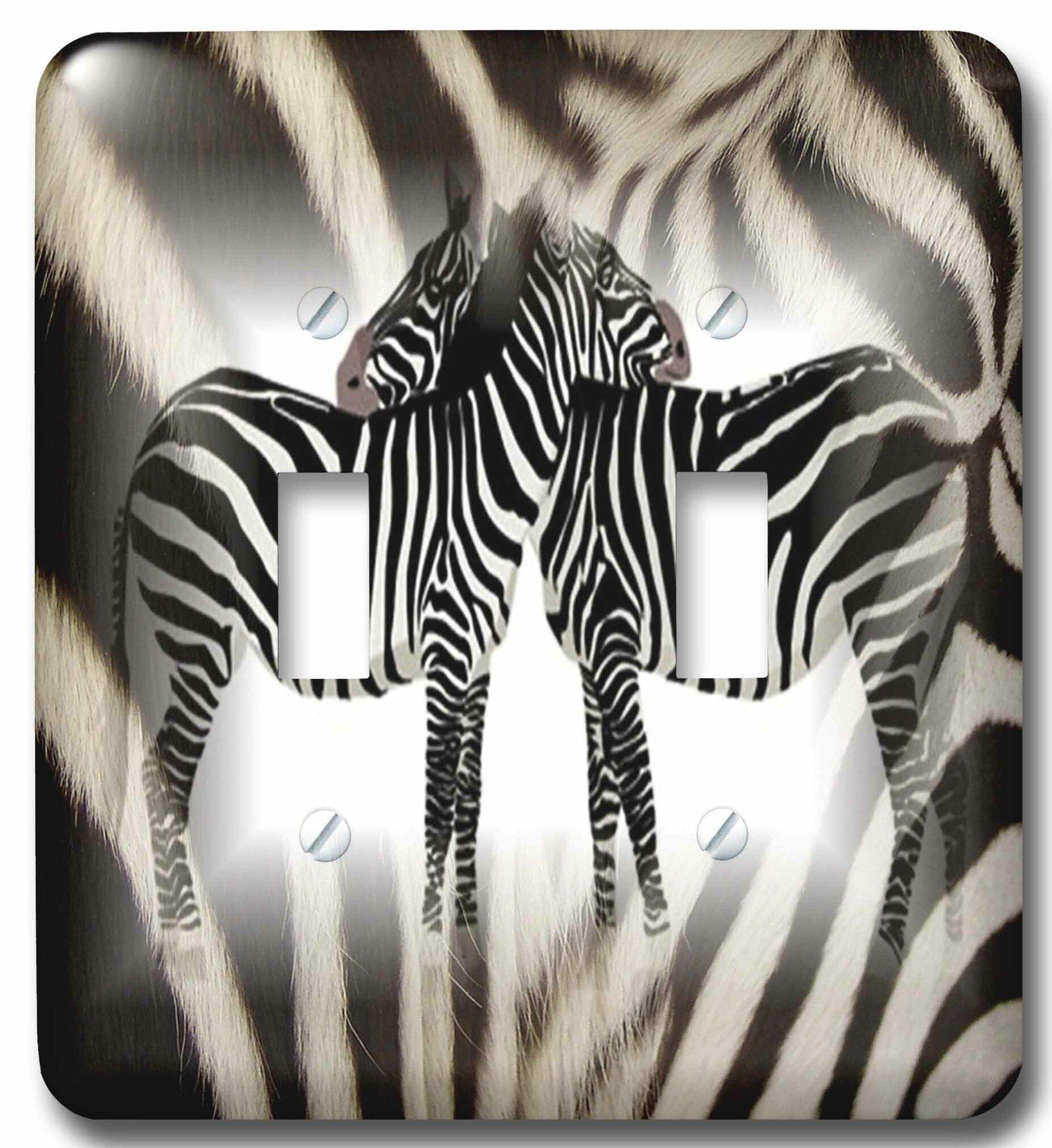 3drose 2 Hugging Zebras On Real Zebra Fur 2 Gang Toggle Light Switch Wall Plate Wayfair