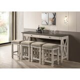 5 Piece Two Tone Counter Dining Table With Drop Leaf And 4 Stools in , Drop Leaf by Gracie Oaks