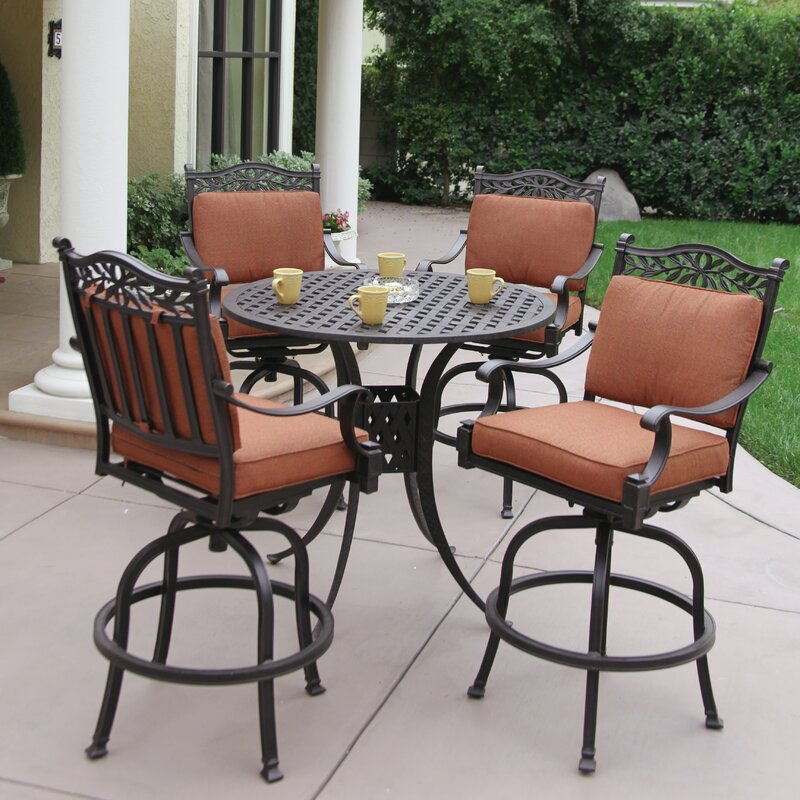 Fairmont Patio Furniture.Fairmont 5 Piece Bar Height Dining Set With Cushions