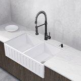 Matte Stone 36 L x 18 W Double Basin Farmhouse Kitchen Sink with Faucet