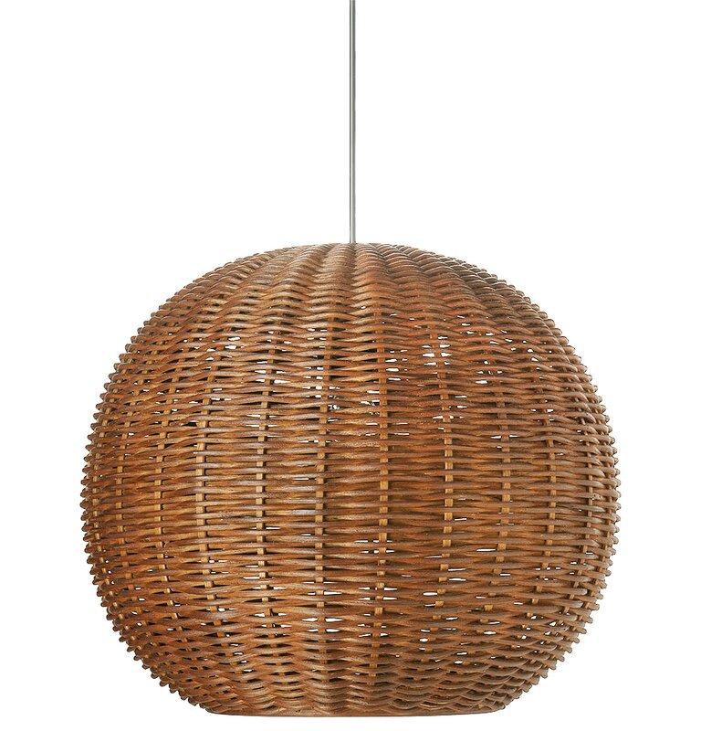 Pirhan Wicker 1-Light Globe Pendant