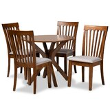 Samira 5 - Piece Rubberwood Solid Wood Dining Set by George Oliver