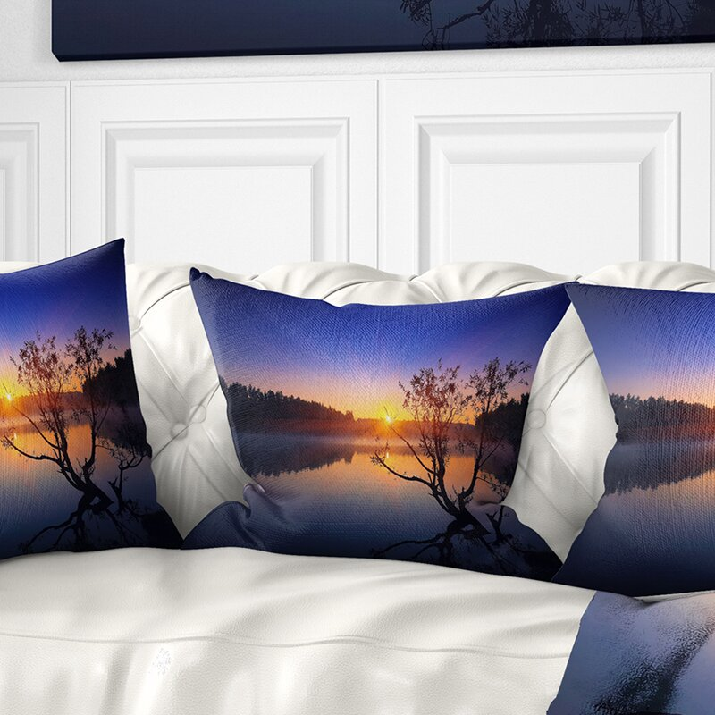 East Urban Home Landscape Lonely Tree In Pond Pillow