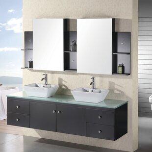 Newcastle 72 Floating Double Bathroom Vanity Set with Mirror by Brayden Studio