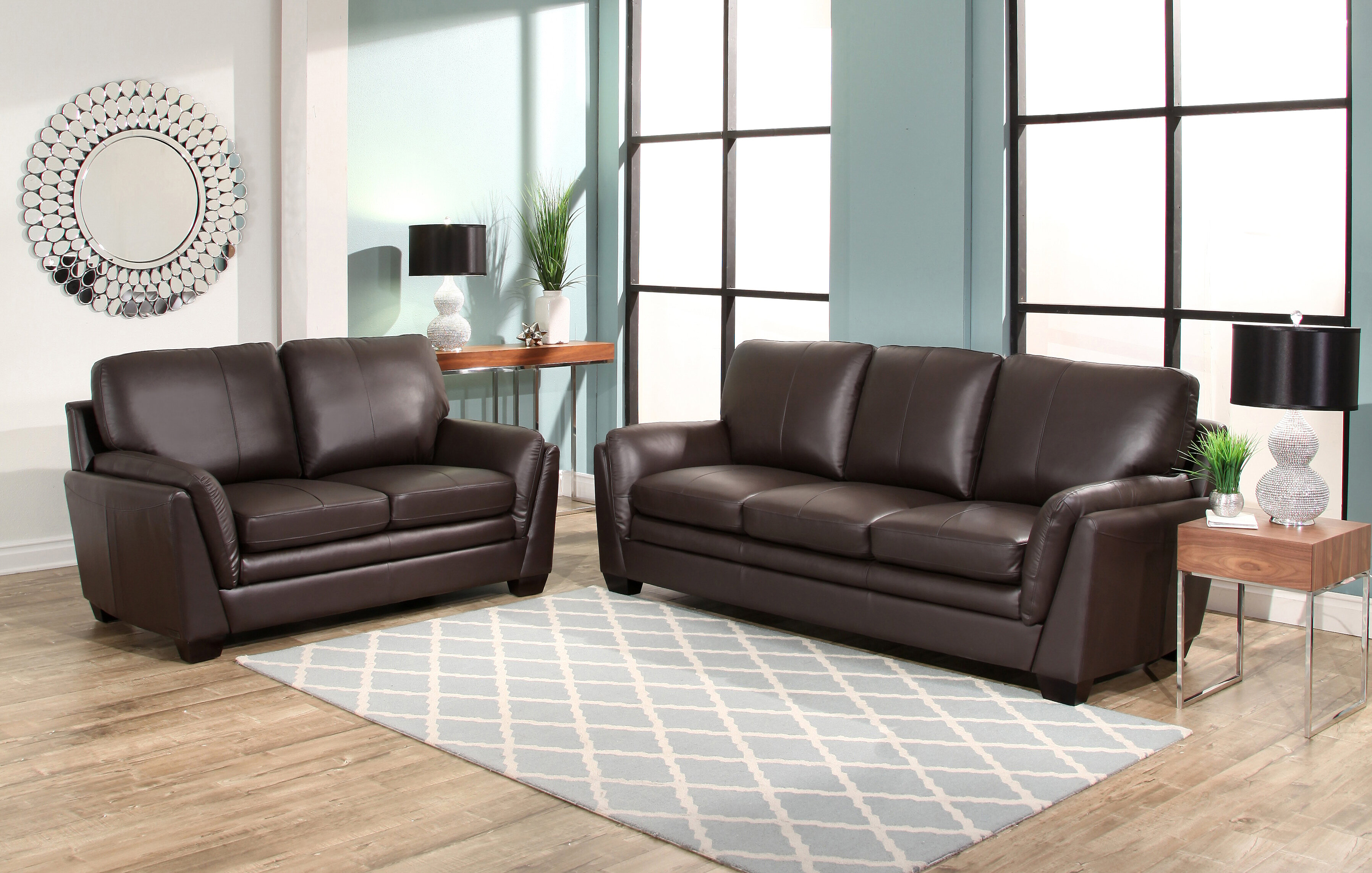 Darby home co whitstran 2 piece leather living room set wayfair ca