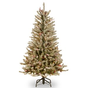 Fir Slim 4.5' Hinged Artificial Christmas Tree with 350 Clear Lights