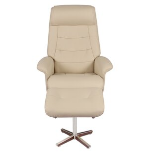 Rozlynn Leather Manual Swivel Recliner with Ottoman by Latitude Run