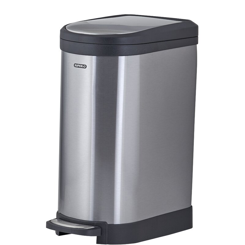 Small Bathroom Trash Can Lid Step-On Black Garbage Waste Office Home 2.6 Gallon