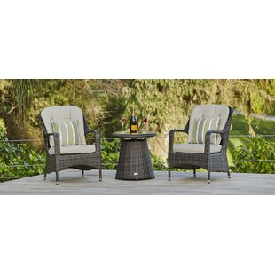 Baptist 3 Piece Bistro Set with Cushions by Red Barrel Studio
