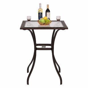 Winston Porter Carly Patio Steel/Rattan Bar Table