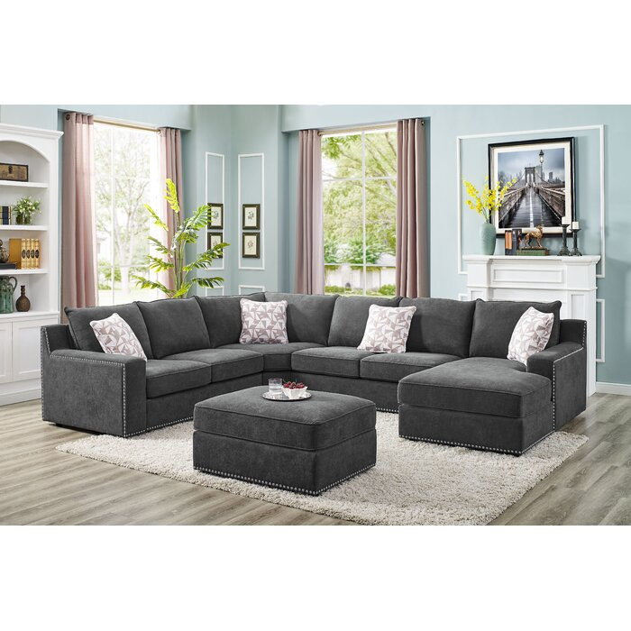 Fantastic Makah 5 Seater Right Hand Facing Modular Sectional Sofa With Ottoman Pabps2019 Chair Design Images Pabps2019Com