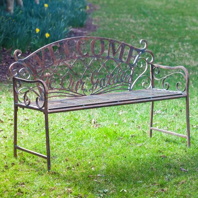 Astounding Hillingdon Welcome To Our Garden Metal Garden Bench August Grove Ocoug Best Dining Table And Chair Ideas Images Ocougorg