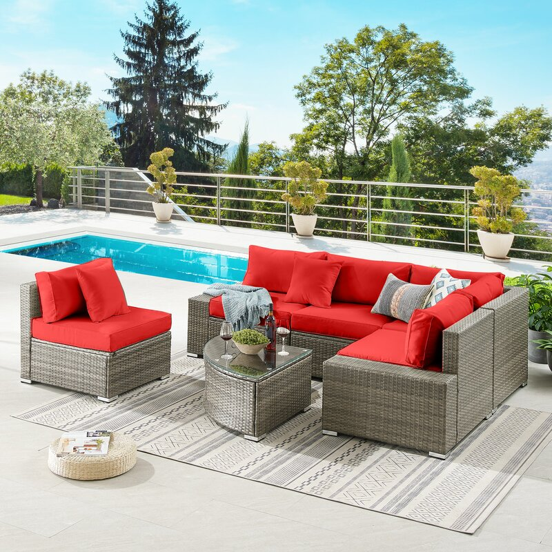 Latitude Run 5 Piece Rattan Sectional Seating Group With Cushions Reviews Wayfair