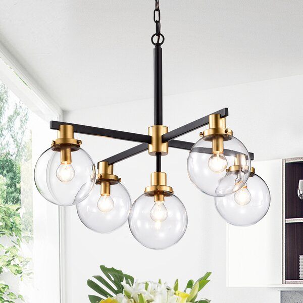 George Oliver Fennell 5 Light Sputnik Modern Linear Chandelier Reviews Wayfair