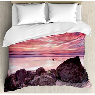 East Urban Home Landscape Australian Seascape Image with Rocks Ocean Deep Sea Rocks Sunrise Dawn Art Photo Duvet Set