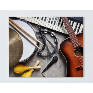 Instrument Motif Magnetic Wall Mounted Cork Board By Ebern Designs