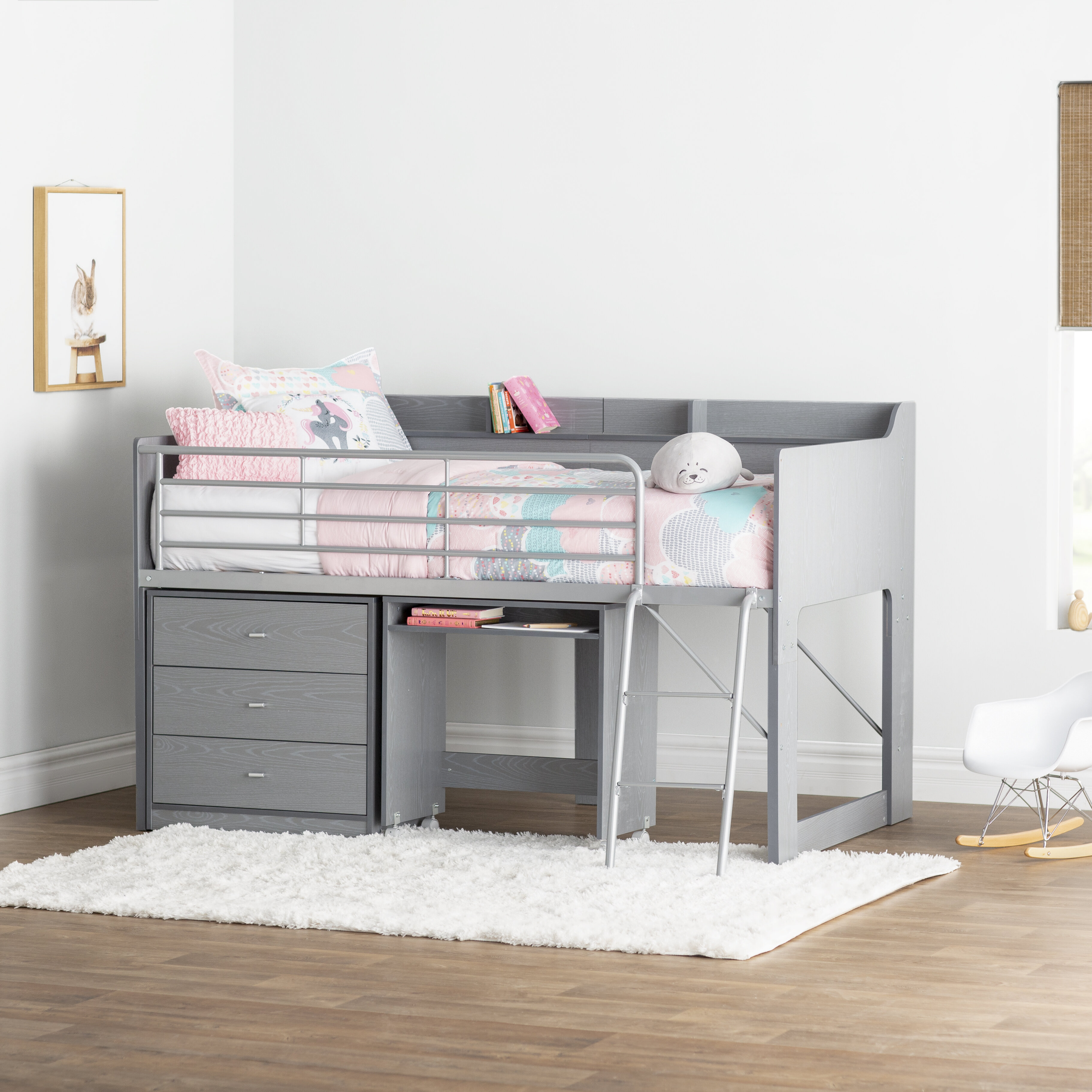 Alcester Twin Low Loft Bed With Drawers