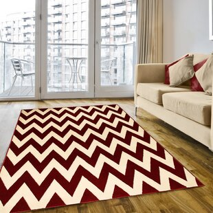 Inexpensive Modern Chevron Hand-Woven Red/White Area Rug By LYKE Home