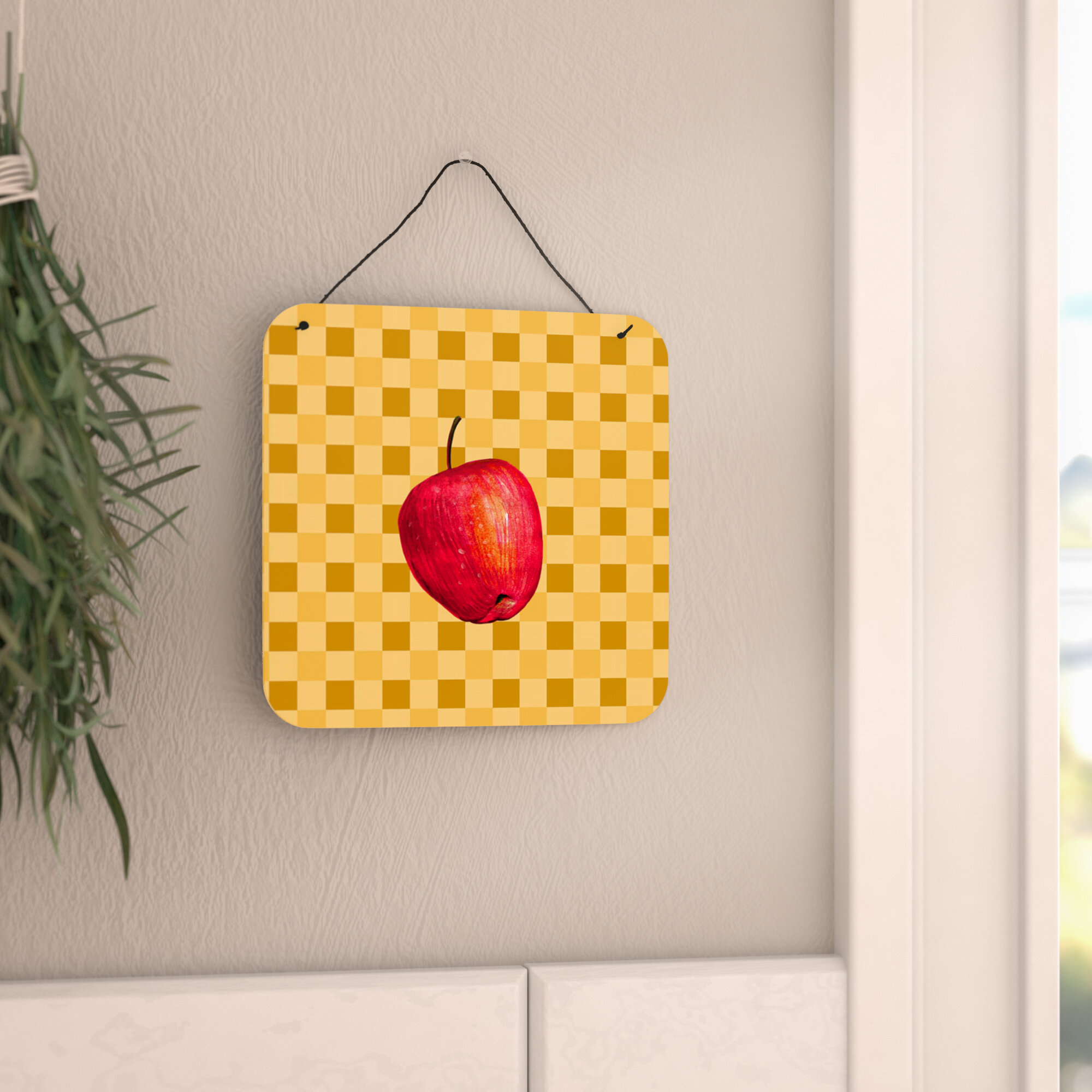 August Grove Whole Apple on Basketweave Wall Décor | Wayfair