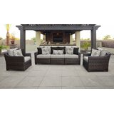 River Brook 4 Piece Outdoor Rattan Sofa Seating Group with Cushions