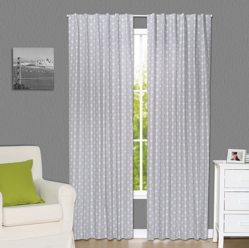 Arrow Geometric Blackout Rod Pocket Curtain Panels