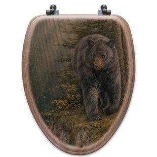 WGI-GALLERY Rocky Outcropping Bear Oak Elongated Toilet Seat