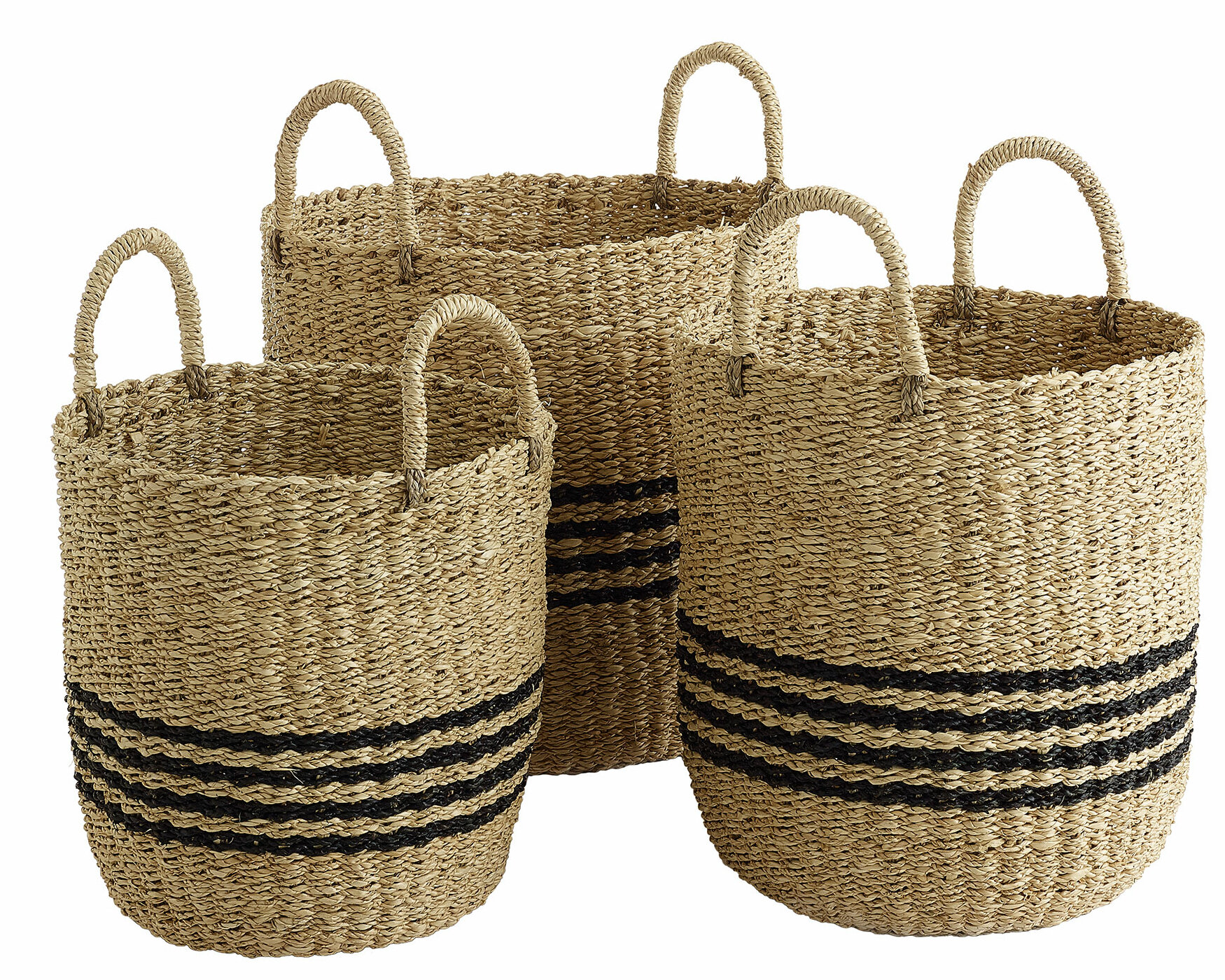 Basket Set 3 Piece Square Shaped Natural Raffia Woven In Brown With Handles Home Décor Home Garden