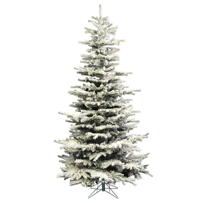 Heavy Flocked Slim Green/White Artificial Christmas Tree with 250 Clear Lights