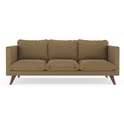 Cowgill Micro Suede Sofa Corrigan Studio Upholstery Hazelnut Finish Walnut