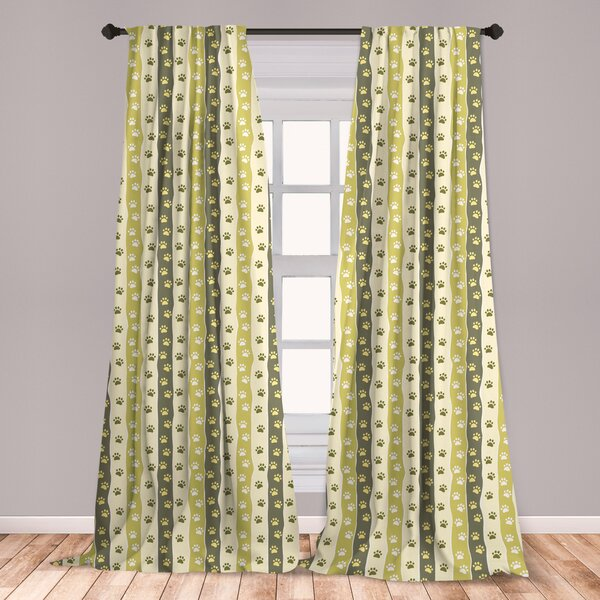 East Urban Home Ambesonne Dog 2 Panel Curtain Set Vertical Pattern With Paw Design Foot Print Canine Walking Lightweight Window Treatment Living Room Bedroom Decor 56 X 63 Yellow Green Pale Yellow Wayfair