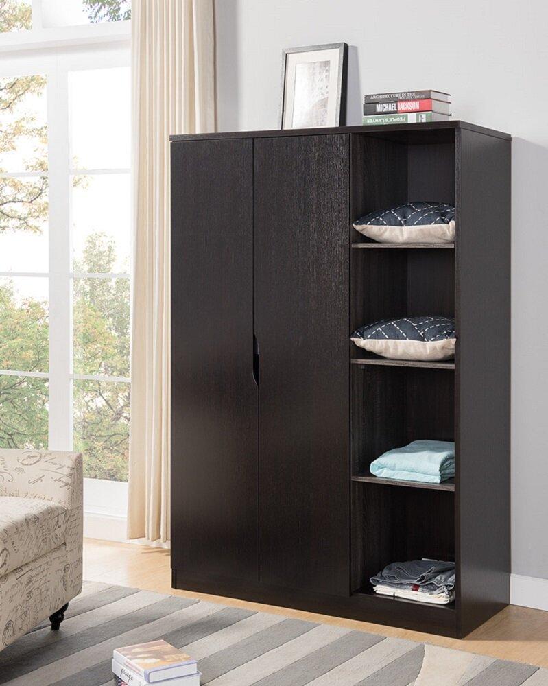 Renay Wooden Storage Cabinet Open Shelves Wardrobe Armoire