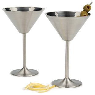 Cleckheat 8 oz. Stainless Steel Cocktail Glass (Set of 2)
