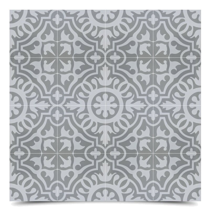 """Baha 8"""" x 8 """" Cement Field Tile in Gray/Off-White"""