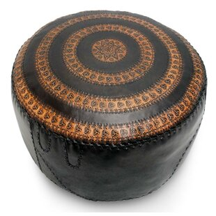 Sangiacomo Star Leather Pouf by Bloomsbury Market