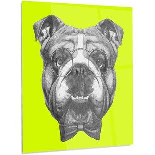 d5f4dbaa9d6  English Bulldog with Bow Tie  Graphic Art on Metal