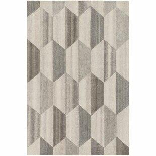 Beatrice Hand-Tufted White/Medium Gray Area Rug ByLangley Street