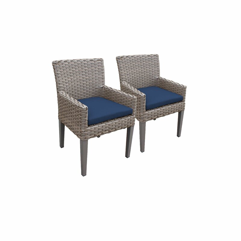 Sol 72 Outdoor  Rockport Patio Dining Chair with Cushion Cushion Color: Navy