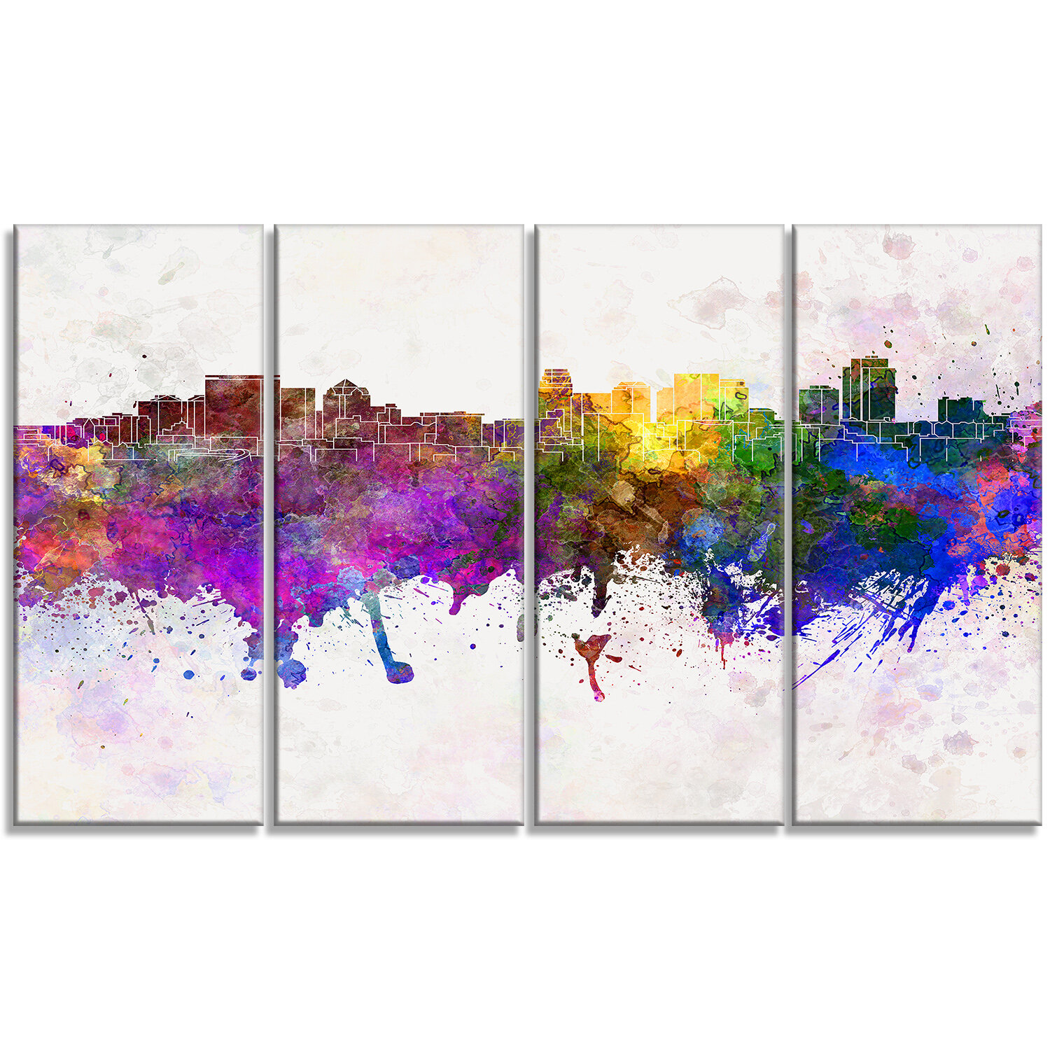 Designart Salt Lake City Skyline Cityscape 4 Piece Painting Print On Wrapped Canvas Set Wayfair
