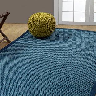 Cross Hand Woven Blue Indoor Outdoor Area Rug